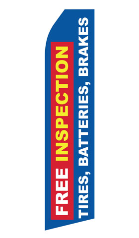 Free Inspection for Tires Brakes Batteries Swooper Flag