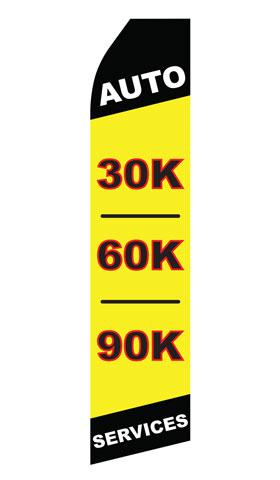 Auto 30K 60K 90K Services Swooper Flag