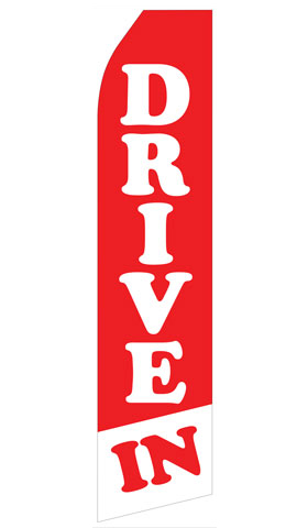 Red and White Drive In Swooper Flag
