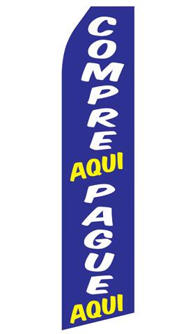 Compre Aqui and Pague Aqui Swooper Flag