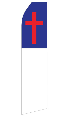 Blue White and Red Cross Swooper Flag