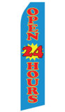Blue Open 24 Hours Swooper Flag