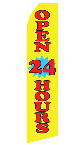 Yellow Open 24 Hours Swooper Flag