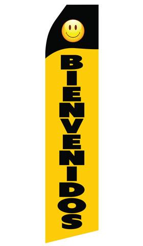 Black Yellow Bienvenidos Swooper Flag