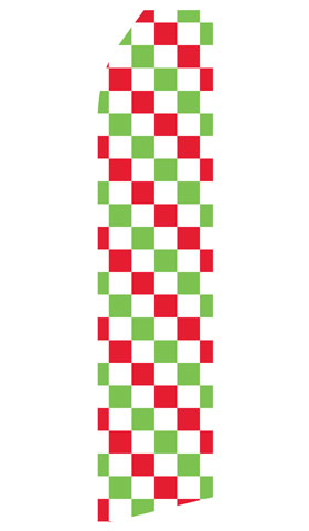 Red, Green, and White Checkered Swooper Flag